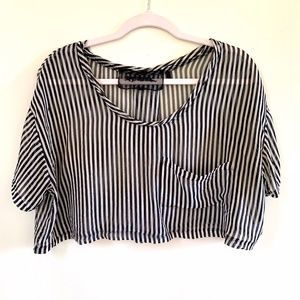 Reformation Striped Silk Chiffon Cropped Top S